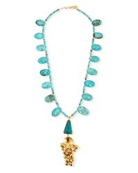 Devon Leigh Turquoise Ball Cluster Pendant Necklace 32 Gold