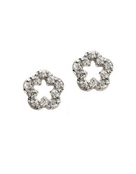 Lord And Taylor Sterling Silver Mini Pave Flower Stud Earrings