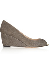 Lucy Choi London Ivy Glitter Finished Leather Wedge Pumps