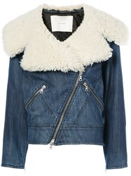 Adam By Adam Lippes Stretch Denim Moto Jacket With Shearling Collar Acetate Unavailable