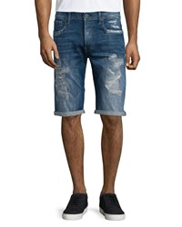 G Star Distressed Straight Leg Denim Shorts Medium Blue Men's