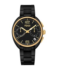 Fendi Momento Black Chronograph Stainless Steel Link Bracelet Watch