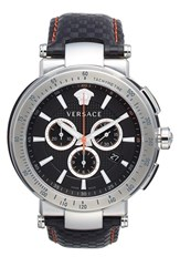 Men's Versace 'Mystique Sport' Chronograph Two Tone Bracelet Watch 46Mm Black Silver