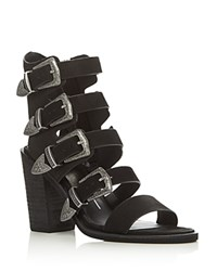 Dolce Vita Layell Buckle City Strappy High Heel Sandals Black Silver