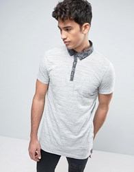 Brave Soul Polo Shirt With Chambray Collar Beige