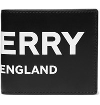Burberry Logo Print Leather Billfold Wallet Black