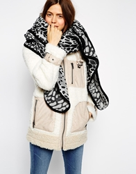 Asos Oversized Leopard Scarf With Bound Edge Grey