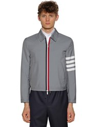 Thom Browne Striped Woven Tech Jacket Med Grey