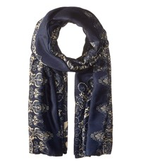 The Kooples Lightweight Printed Scarf Navy