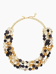 Kate Spade Wood You Be Mine Twisted Statement Necklace Cream Black