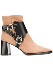 Tod's Leather Buckle Strap Boots Nude And Neutrals