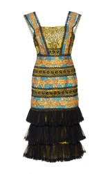 Costarellos French Chantilly Dropped Waist Dress Gold Black Blue