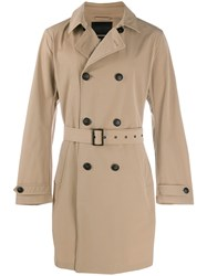 Emporio Armani Belted Trench Coat Neutrals