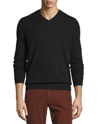 Vince Cashmere Long Sleeve V Neck Sweater Black