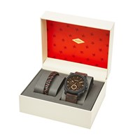 Fossil Fs5251set Men's Machine Chronograph Leather Strap Watch And Bracelet Set Brown