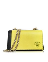 Emilio Pucci Chartreuse Leather Shoulder Bag W Chain Strap Yellow
