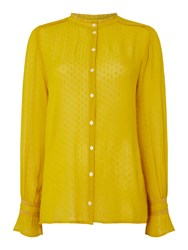 Part Two Textured Button Blouse Yellow