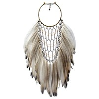 Clemmie Watson Gunmetal Emu Feather Necklace Gold