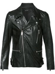 Christian Dada Zip Up Biker Jacket Black