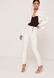 Missguided Button Front Pintuck Leggings Cream Cream