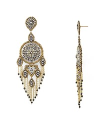 Miguel Ases Beaded Chandelier Drop Earrings Ivory Champagne
