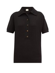 Khaite Enzo Wool Blend Knitted Polo Shirt Black