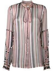 N 21 No21 Sheer Striped Blouse Pink Purple