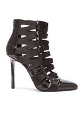 Tamara Mellon Corset Patent Leather And Satin Booties In Black