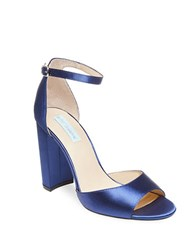 Betsey Johnson Carly Metallic Fabric Sandals Navy Blue