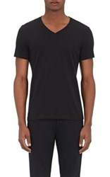 Barneys New York Men's Jersey V Neck T Shirt Black