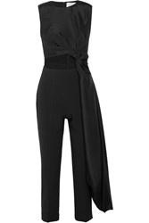 Roksanda Ilincic Thurloe Draped Cutout Jersey And Crepe Jumpsuit Black