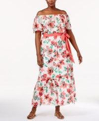 Jessica Howard Plus Size Printed Off The Shoulder Maxi Dress Poppy