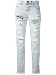 One Teaspoon Ripped Cropped Jeans Women Cotton 26 Blue