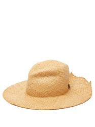 Lola Hats Re Commando Raffia Hat Beige Black