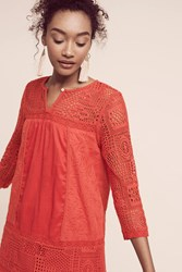 Anthropologie Embroidered Crochet Tunic Dress Bright Red