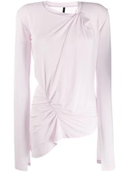 Unravel Project Asymmetric Long Sleeve Top Pink