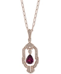 Effy Rhodolite Garnet 1 3 8 Ct. T.W. And Diamond 1 3 Ct. T.W. Pendant Necklace In 14K Rose Gold