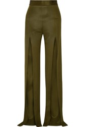 Balmain Stretch Cady Wide Leg Pants Army Green