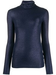 Majestic Filatures Lurex Knitted Roll Neck Blue