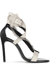 Lanvin Chain Trimmed Suede And Leather Sandals Black