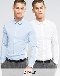 Asos Skinny Shirt In White And Blue With Long Sleeves 2 Pack White Blue Multi