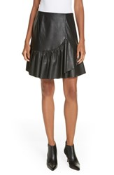 Rebecca Taylor Faux Leather Skirt Black
