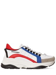 Dsquared 551 Leather Bumpee Low Top Sneakers Red White Blue