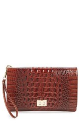 Brahmin 'Lily' Croc Embossed Leather Clutch