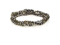 M Cohen M. Men's Beaded Cord And Oval Link Chain Wrap Bracelet Silver