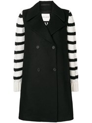 Each X Other Striped Design Oversized Coat Black