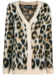 Boutique Moschino Leopard Print Cardigan Brown