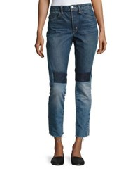 Helmut Lang Patchwork High Rise Crop Slim Jeans Blue