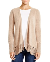 Moon And Meadow Fringe Hem Cashmere Cardigan Beige Camel