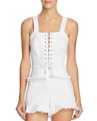 Blank Nyc Blanknyc Lace Up Denim Bustier Top 100 Exclusive Great White